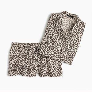 J. Crew Leopard Print Pajama Set PJ's Shorts Top L